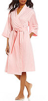 Cabernet Shadow-Striped Satin Wrap Robe