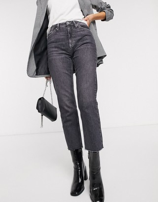 Topshop straight leg jeans with contrast stitching in washed black