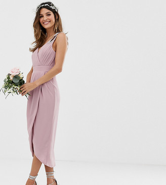 TFNC bridesmaid exclusive wrap midi dress in pink-Green
