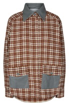 Beiru Leather Trim Check Tweed Jacket