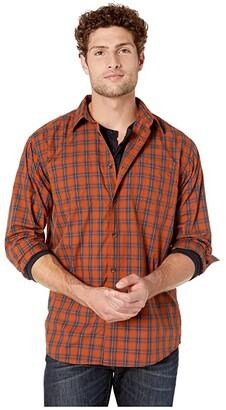 Dickies Long Sleeve Plaid Woven Shirt (Gingerbreak/Dark Navy Plaid) Men's Clothing