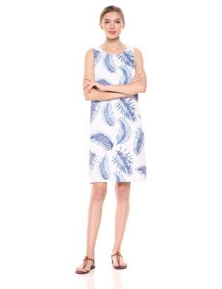 28 Palms Women's 100% Linen Hawaiian Print Shift Dress Fronds White/Blue X-Large