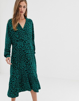 Asos DESIGN collar detail midi dress in leopard print