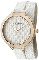Stuhrling Original Women's 658.03 Vogue Quartz White Wrap Around Leather Strap Watch