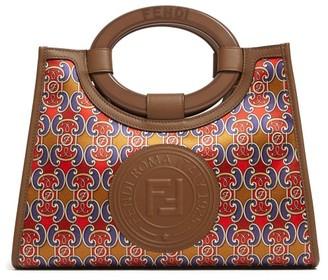 Fendi Runaway Mini Satin And Leather Bag - Womens - Brown Multi