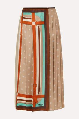 Fendi Crochet-paneled Pleated Printed Silk-satin Wrap Skirt - Beige