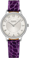 Hermes Slim d'Hermès Watch with Diamonds & Currant Alligator Strap