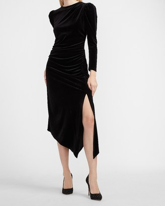 Express Velvet Ruched Side Asymmetrical Midi Dress