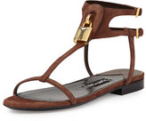 Tom Ford Suede T-Strap Flat Padlock Sandal, Sienna