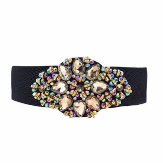 Teeyee Women Girls Fashion Big Rhinestone Studded Buckle Adjustable Elastic Wide Waist Belt (one size