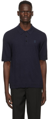 Burberry Navy Cashmere Burnham Polo
