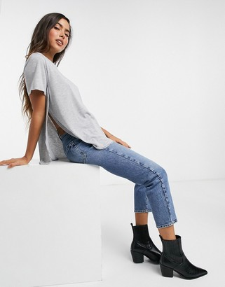 ASOS DESIGN t-shirt with curved hem and side splits in gray marl