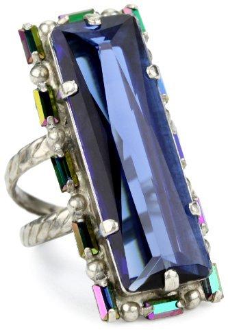 "Sorrelli Emerald City"" Elongated Crystal Adjustable Silvertone Ring"