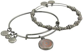 Alex and Ani Cosmic Balance Wood Charm Bracelet Set of 2 (Midnight Silver) Bracelet