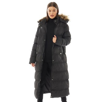 Brave Soul Womens Hop Maxed Padded Coat With Faux Fur Trim & Detachable Hood Black/Natural