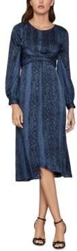 BCBGMAXAZRIA Snake-Embossed Satin Georgette Dress