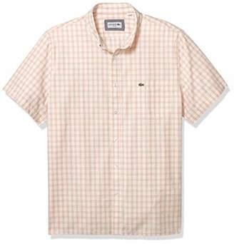 Lacoste Men's Short Sleeve Slim Fit Poplin Check Woven Shirt