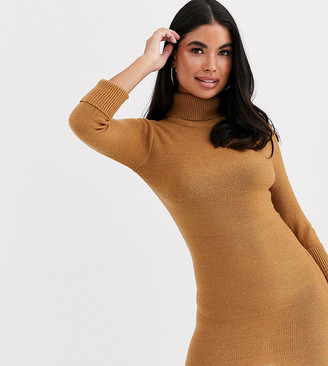 Brave Soul Petite mandy roll neck jumper dress in camel