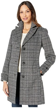 Vince Camuto Single Breasted Wool Coat V29723A (Multi Plaid) Women's Coat