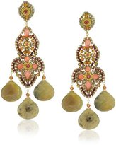 Miguel Ases Yellow Opal Three-Drop Earrings