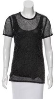 Donna Karan Beaded Open Knit Top