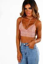 Pink Boutique Love Crime Rose Pink Lace Choker Neck Bralet