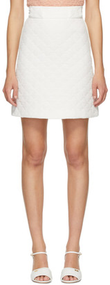 Fendi White Quilted Crepe De Chine Skirt
