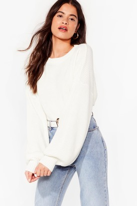 Nasty Gal Womens Rib Takes Time Knitted Balloon Sleeve Sweater - Cream