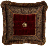 "Dian Austin Couture Home Fringed Pillow with Rosette Center, 20""Sq."