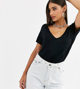 Asos Tall DESIGN Tall oversized v front and v back t-shirt in black