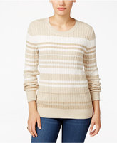 Karen Scott Striped Cable-Knit Sweater, Only at Macy's