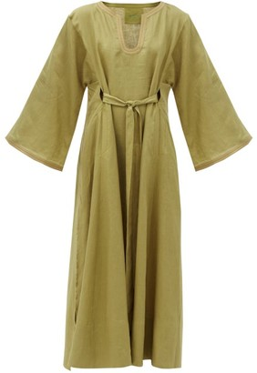 Loup Charmant Skorpios Belted Linen Maxi Dress - Khaki