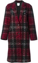 DKNY checked leopard embossed coat
