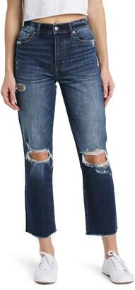DAZE Straight Up Ripped High Waist Crop Jeans