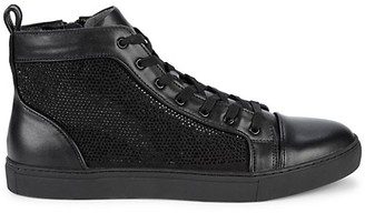 Steve Madden Embellished Leather High-Top Sneakers