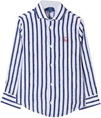 Fay White Shirt With Blue Stripes