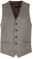 Topman Stone Birdseye Suit Waistcoat