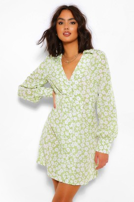 boohoo Ditsy Floral Shirt Dress