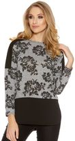 Quiz Grey And Black Contrast Flower Print Knitted Top
