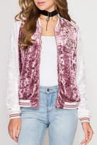She + Sky Velvet Track Jacket