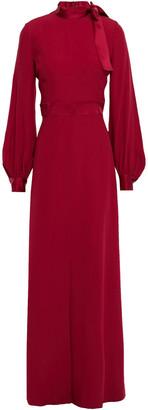 Goat Irene Tie-neck Satin-trimmed Crepe Gown