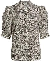 Frame Leopard Print Puff Sleeve Silk Blouse