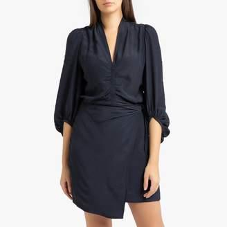 soeur GREASE Short Draped Dress with Long Sleeves
