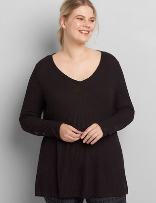 Lane Bryant Waffle-Knit Long-Sleeve Swing Tee