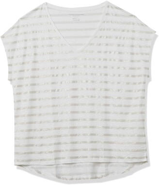 Majestic Filatures Women's Semi-Relaxed Striped V-Neck
