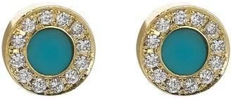 Jennifer Meyer Mini Turqoise and Diamond Inlay Studs