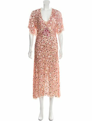 Luisa Beccaria Sequined Maxi Dress Pink