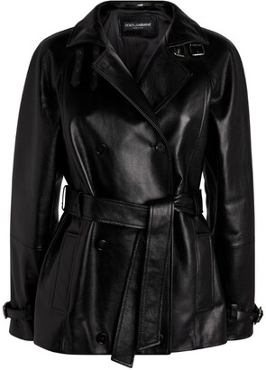 Dolce & Gabbana Belted Leather Jacket