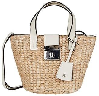 Lauren Ralph Lauren Heritage Lock Structure Straw Reese Mini Tote (Natural/Vanilla) Handbags