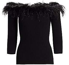 Milly Women's Feather-Trim Off-the-Shoulder Top